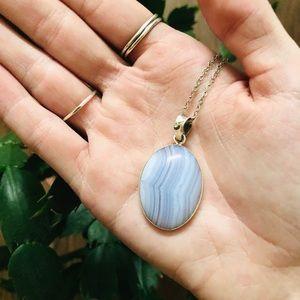 VINTAGE Blue/Purple Round Stone Pendant Necklace
